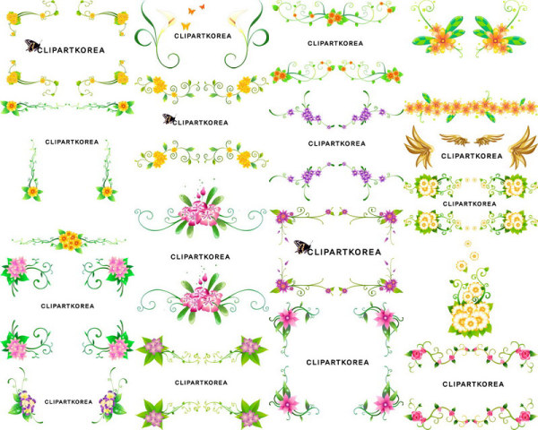 16 Vector flower lace pattern