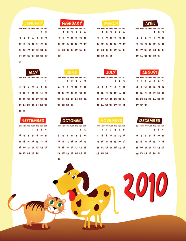 Lovely 2010 calendar vector material