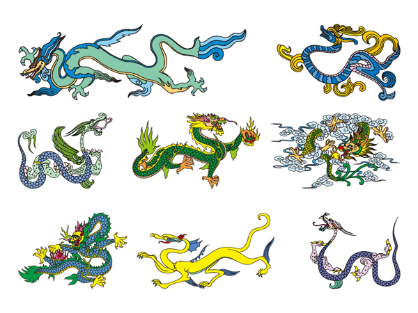 Classical Chinese dragon vector material of two