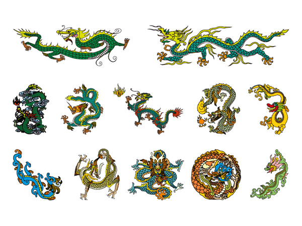 Chinese Classical Dragon Vector material of the four