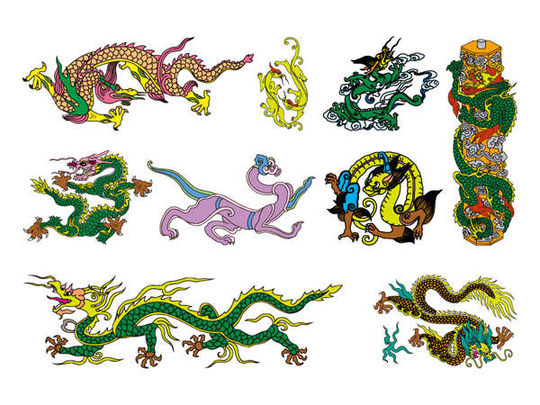 Chinese Classical Dragon Vector material of the seven