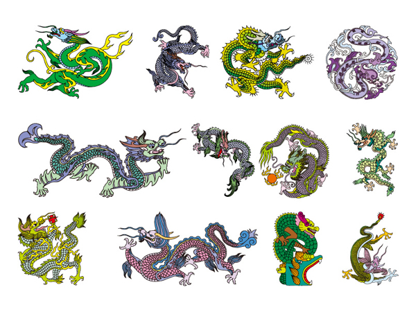 Chinese Classical Dragon Vector material of the eight