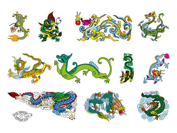 Chinese Classical Dragon Vector material of the 9