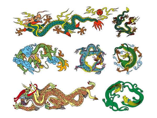 Chinese Classical Dragon Vector material of 10