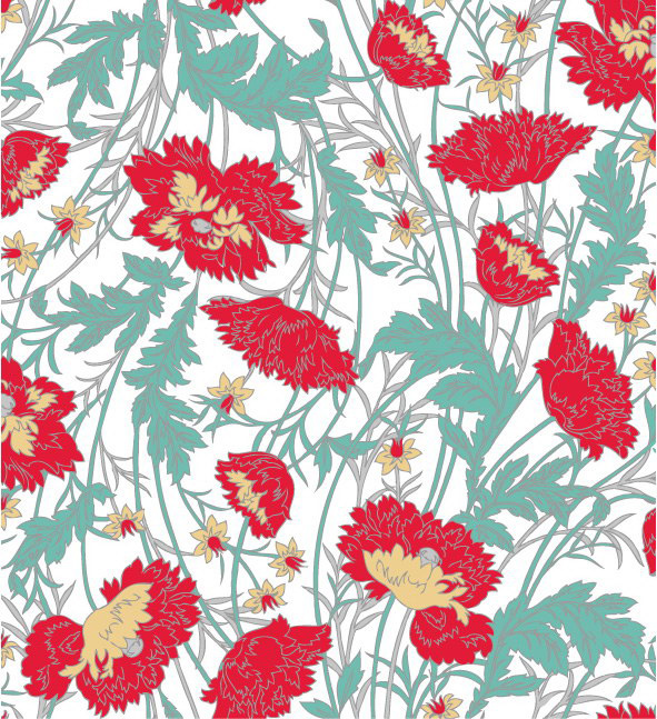 Hand-Painted Flower Pattern Background Vector Graphic