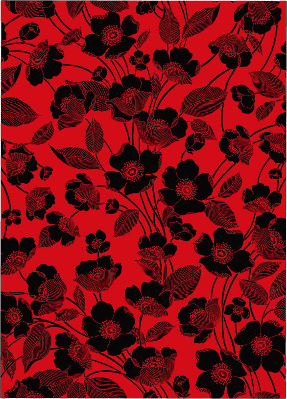 Flowers Red And Black Lines The Background Vector Graphic
