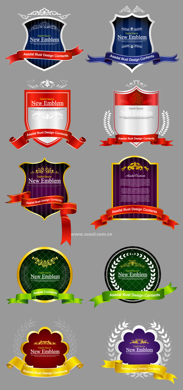 10 beautifully shaped tag Ribbon Vector material