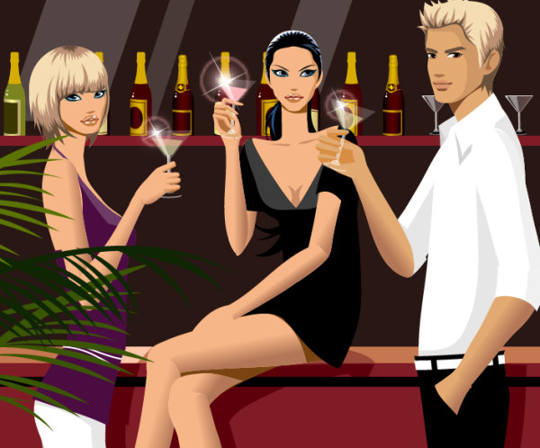 Fashion drinking men and women vector material