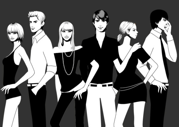 Black and white photographs of men and women fashion vector