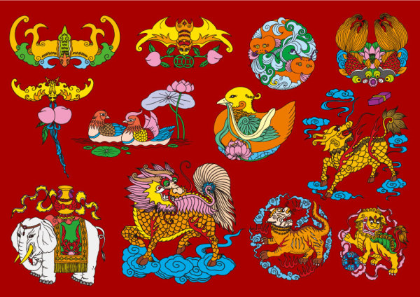 12 Chinese Folk auspicious pattern vector material