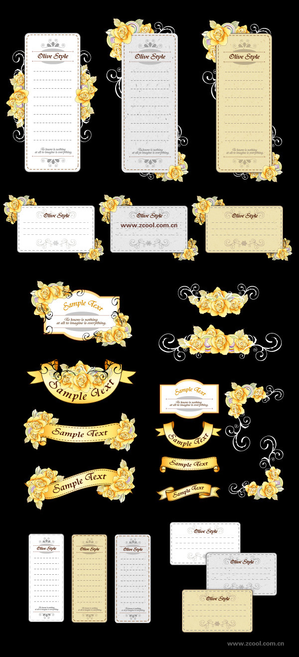 Ribbon card and hand-painted flowers vector material (yellow