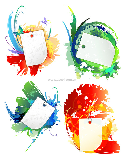 Ink background and blank cards vector material