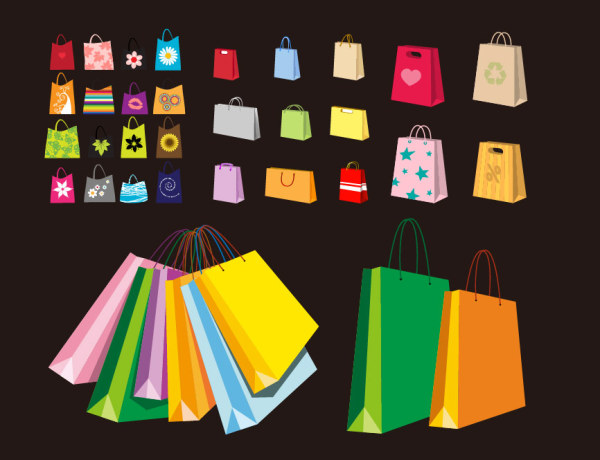 Handbag bags Vector variety of colorful material