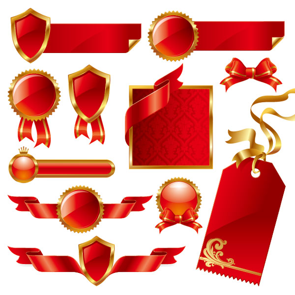 Red Ribbon Theme Vector material