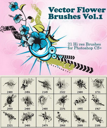 21 HD Vector flower brush