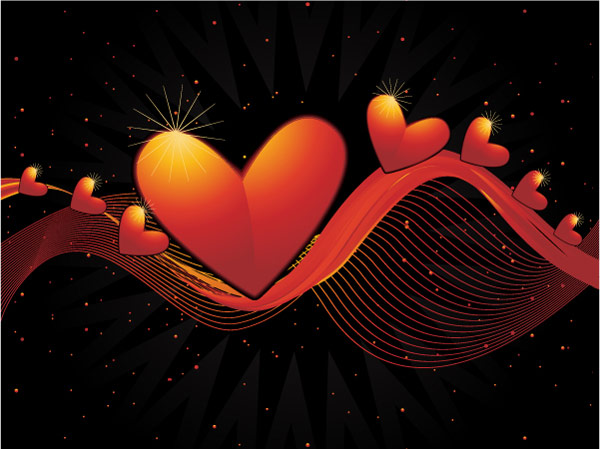 Heart-shaped vector material -2 dynamic lines of the backgro