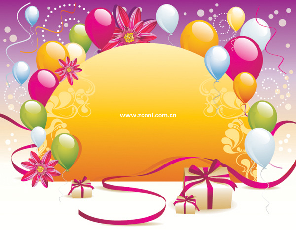 Vector background material balloon gift card