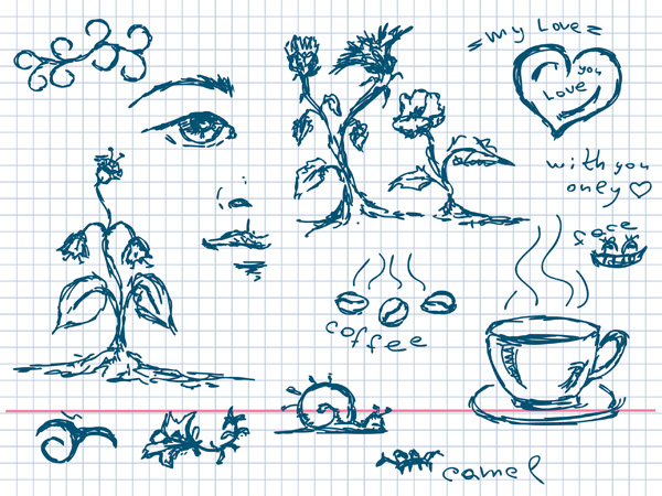 Vector elements such as hand-painted coffee plant material