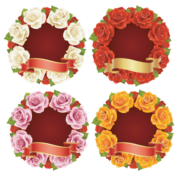 Rose and Ribbon Vector material