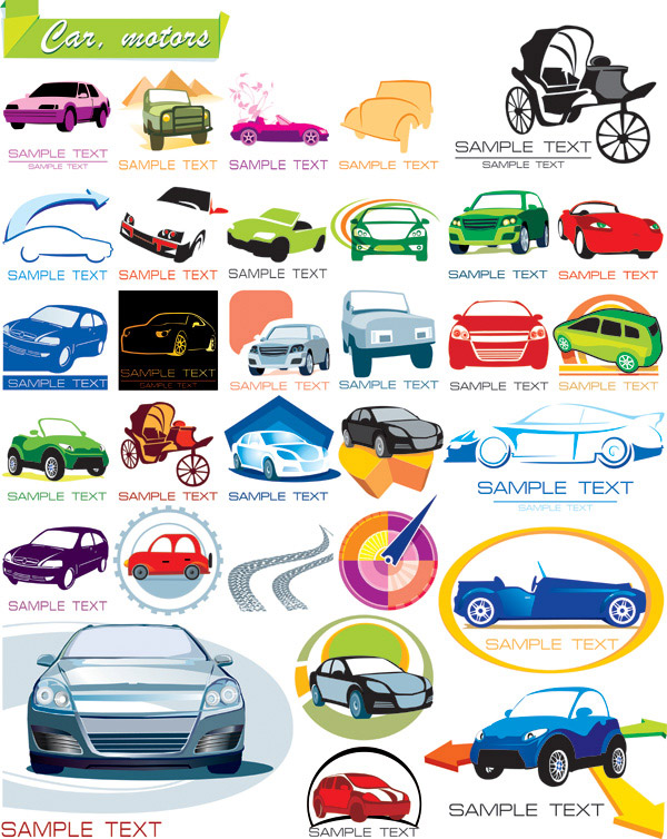 Some icons vector graphics on the car material