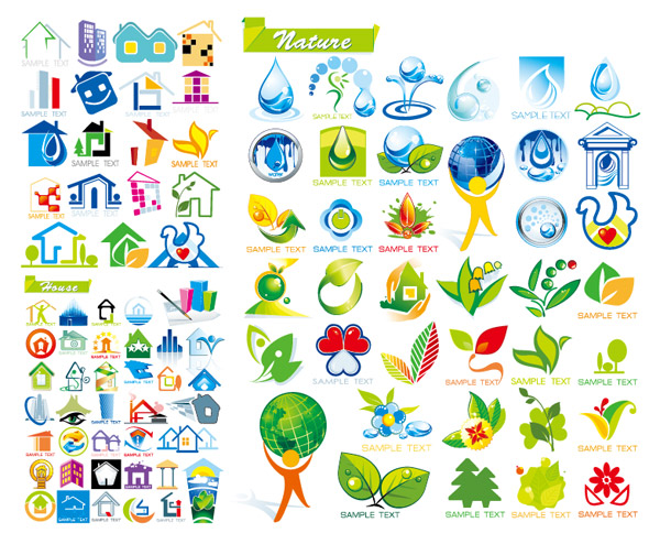 House icon vector material and ecological topics