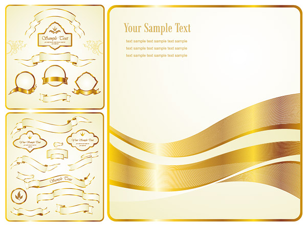 Gold Ribbon label vector material