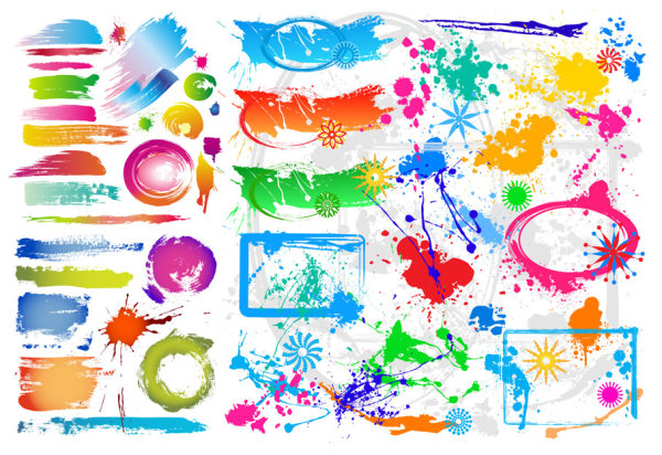 Colorful ink vector material