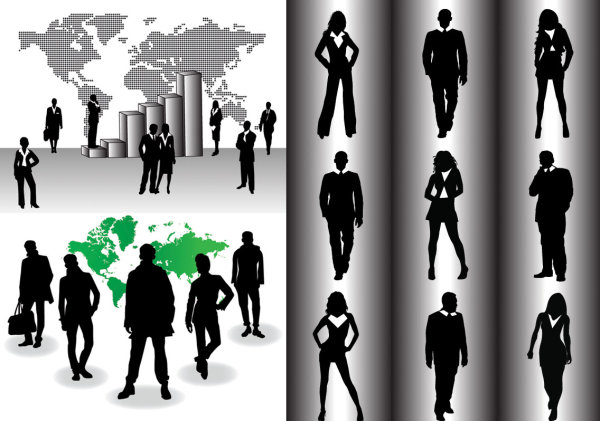 Business people silhouettes vector material