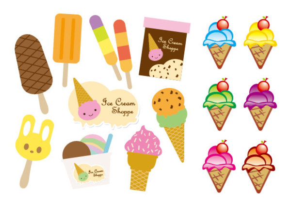 Cute ice cream vector material