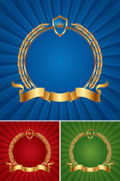 Mail wheat shield ribbon vector material