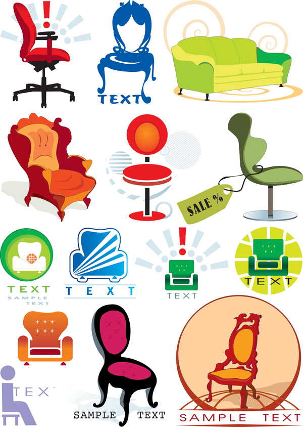 Chairs vector graphics theme material