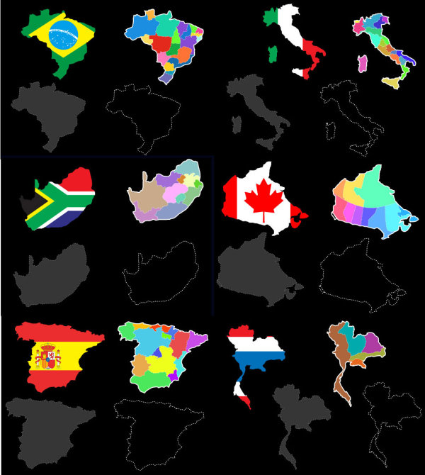 Various vector map of the world background material