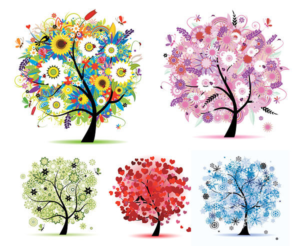 Seasons tree vector material