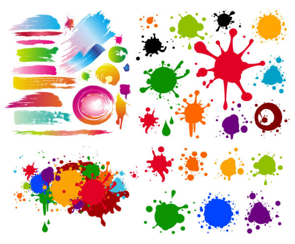 Colorful black mark on the ink vector material