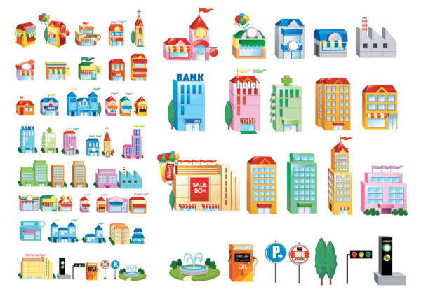 Three-dimensional small house icon vector material