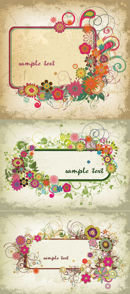 Three colorful border Vector Graphics