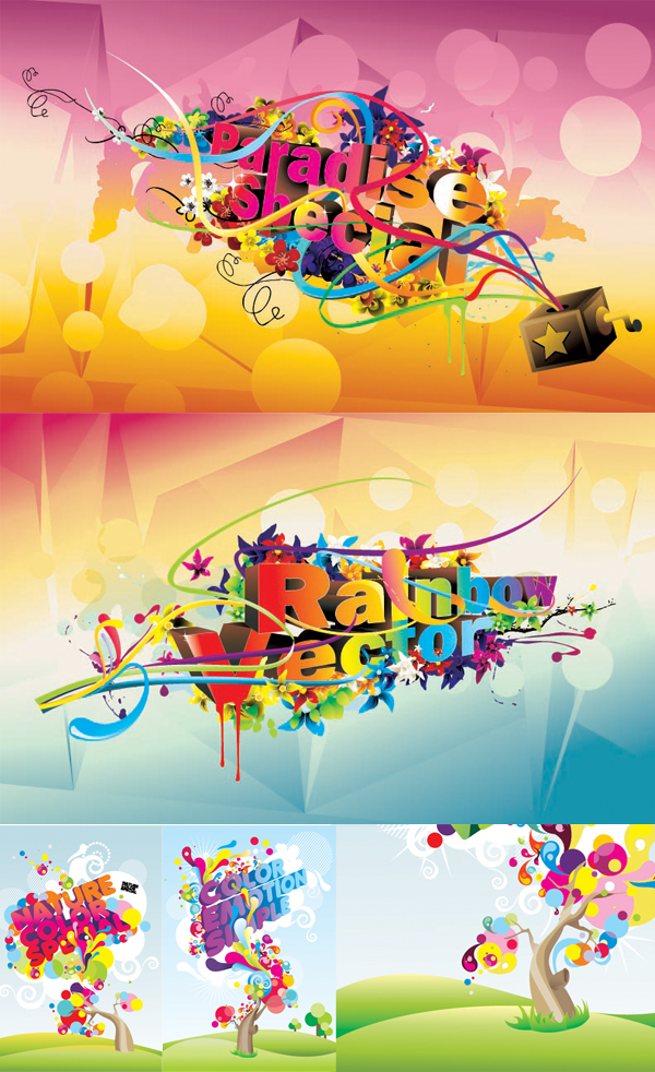 Colorful stylish fonts Vector Graphics