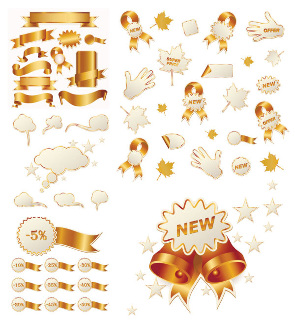Gold ribbon and Christmas sales icon vector material