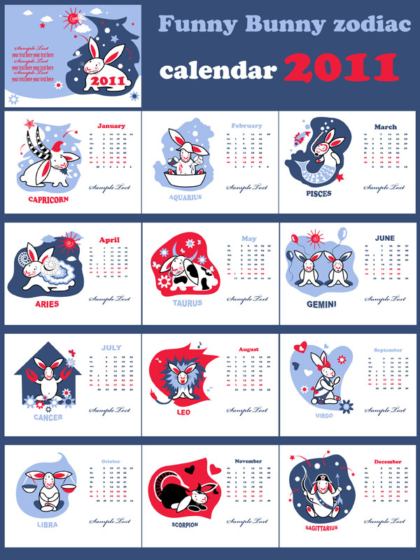 Cute Year of the Rabbit 2011 calendar Vector