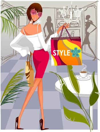 Fashion Women Shopping Illustration (Vector)