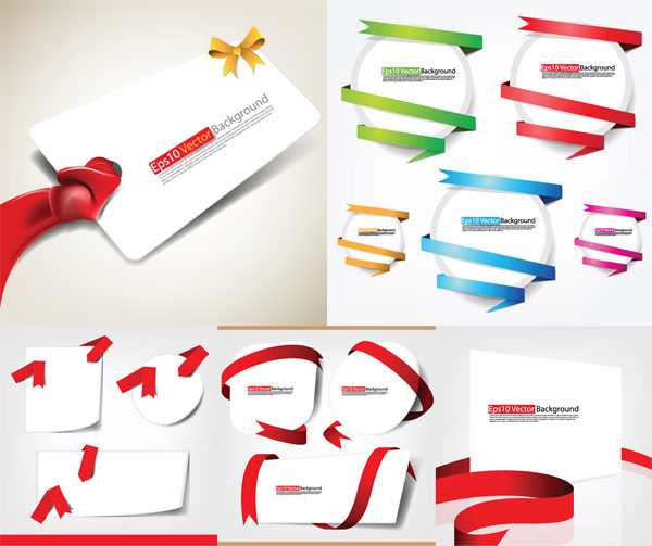 Ribbons and cards vector material
